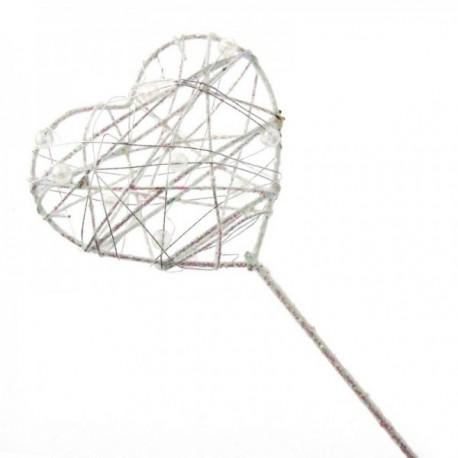 Glittered Heart Wand - White Iridescent (7cm Diameter on 30cm Handle)