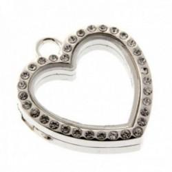 Rhinestone Heart Charm Large - Silver (3cm Diameter)