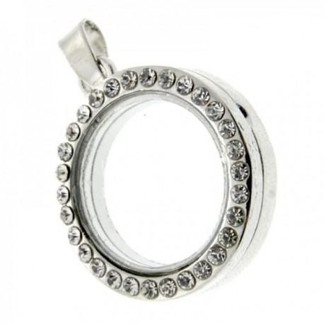 Rhinestone Circle Charm Large - Silver (3cm Diameter)