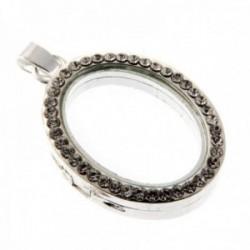 Rhinestone Oval Charm Large - Silver (3cm Diameter)