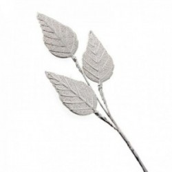 Silver Rose Leaf Spray - Silver (21cm Height, 3Stems per pk)