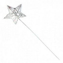 Glittered Star Wand - White Iridescent (7cm Diameter on 30cm Handle)