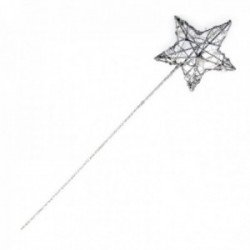 Glittered Star Wand - Silver (7cm Diameter on 30cm Handle)
