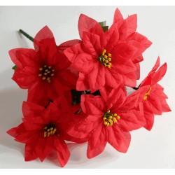 Poinsettia Bush - Red (7 Heads)