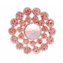 Sparkling Heirloom Brooch Pin - Rose Gold (3cm Diameter, 15cm Pin)