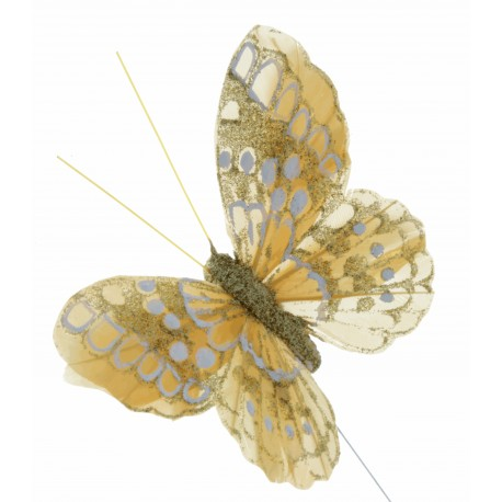 7cm Glitter Butterflies - Gold(12pcs per pk, on a 20cm wire)