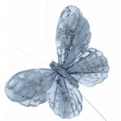10cm Glitter Butterflies - Silver (12pcs per pk, on a 20cm wire)