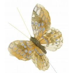 10cm Glitter Butterflies - Gold (12pcs per pk, on a 20cm wire)