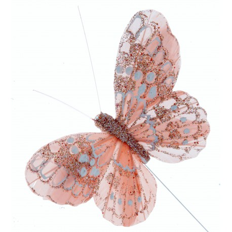 7cm Glitter Butterflies - Rose Gold (12pcs per pk, on a 20cm wire)
