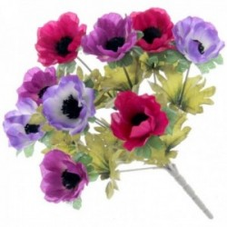 Anemone Bush - Purple, Cerise and Plum (27cm Long, 9 Heads)
