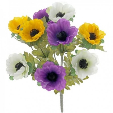 Anemone Bush - Purple, Yellow and White (27cm Long, 9 Heads)
