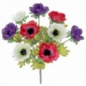Anemone Bush - Purple, Red and White (27cm Long, 9 Heads)