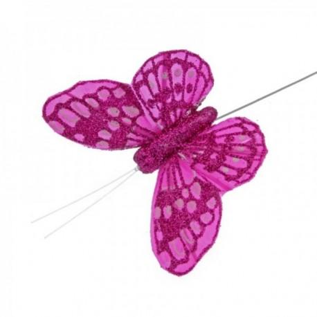 7cm Glitter Butterflies - Hot Pink (12pcs per pk, on a 20cm Wire)