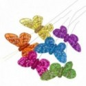 7cm Glitter Butterflies - Blue, Lilac, Orange, Green, Hot Pink and Yellow (12pcs per pk, on a 20cm Wire)