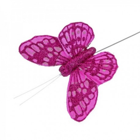 10cm Glitter Butterflies - Hot Pink (12pcs per pk, on a 20cm Wire)