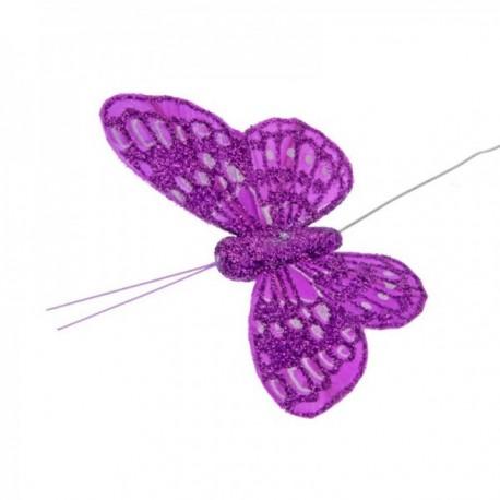 10cm Glitter Butterflies - Lilac (12pcs per pk, on a 20cm Wire)