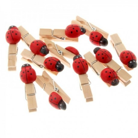 5cm Wooden Pegs with Ladybirds - Natural & Red (5cm Long, 25pcs per pk)