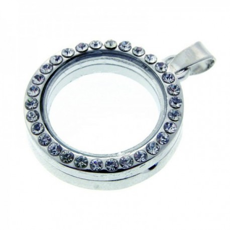 Rhinestone Circle Charm Extra Large - Silver (6cm Diameter)
