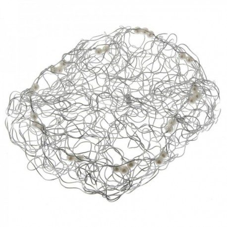 20cm Wire Beaded Collar - Silver (20cm Diameter)