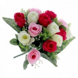 Rose Bud Bush with Foliage - Pink, Cerise and Cream (14 Heads)
