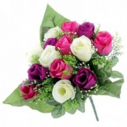 Rose Bud Bush with Foliage - Purple, Pink and Cream (14 Heads)