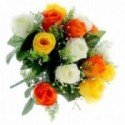 Rose Bud Bush with Foliage - Orange, Yellow and Cream (14 Heads)