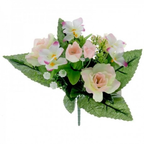 Dainty Rose Bush with Foliage - Pale Pink (7Heads)