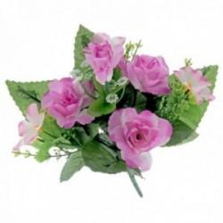 Dainty Rose Bush with Foliage - Mauve (7Heads)