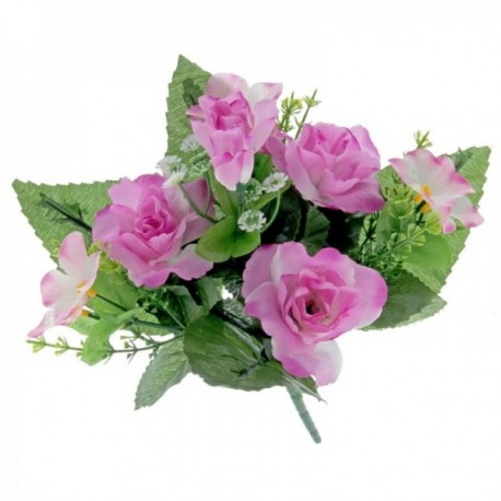 Dainty Rose Bush with Foliage - Mauve (7Heads)