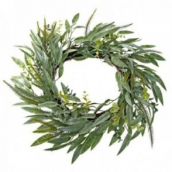 Mixed Foliage Wreath - Green (45cm Diameter)