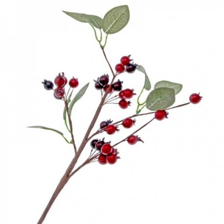Berry Spray with Leaves - Red & Burgundy (12mm berry, 40cm Long)