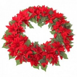 Poinsettia Wreath - Red (55cm diameter)