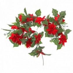 Velvet Poinsettia Garland - Red & Green (182cm long)