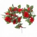 Velvet Poinsettia Garland - Red & Green (182cm long)