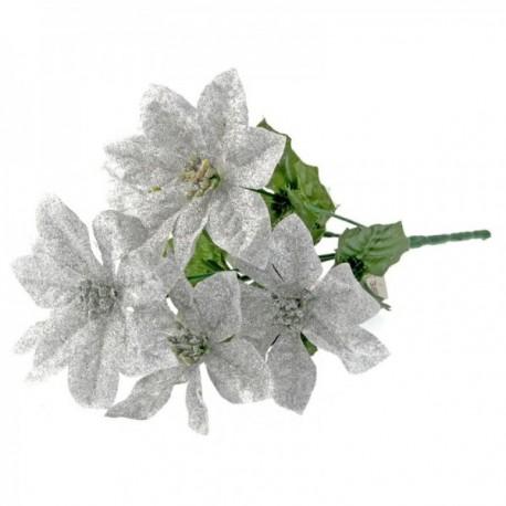 Glitter Poinsettia Bush - Silver (6 Heads)