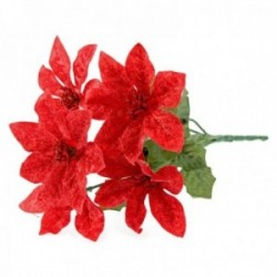 Glitter Poinsettia Bush - Red (6 Heads)