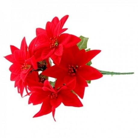 Velvet Poinsettia Bush - Red (7 Heads)