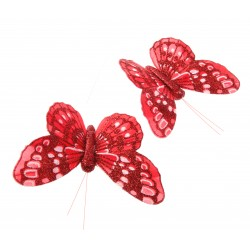 7cm Glitter Butterflies - Red (12pcs per pk, on a 20cm Wire)