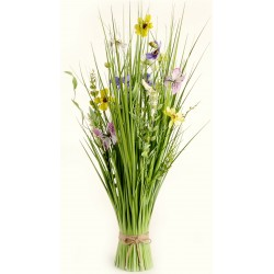 Meadow Flowers - Yellow, Cream & Purple (70cm Long)