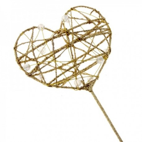 Glittered Heart Wand - Gold (7cm diameter on 30cm Handle)
