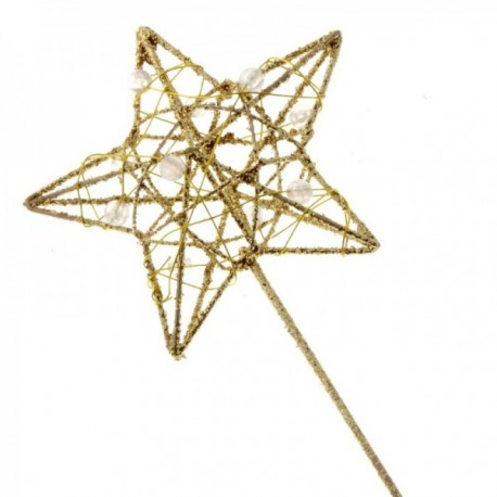 Glittered Star Wand - Gold (7cm diameter on 30cm Handle)