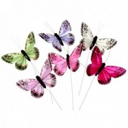 10cm Jewel Tone Feather Butterflies - Hot Pink, Purple, Cream, Green, Fuchsia and Pale Pink (12pcs per pk on a 20cm Wire)