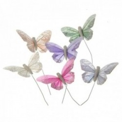 7cm Pastel Sparkle Feather Butterflies - Peach, Green, Grey, Lilac, White & Pink (12pcs per pk on a 20cm wire)