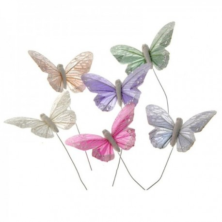 10 Pastel Sparkle Feather Butterflies - Peach, Green, Grey, Lilac, White & Pink (12pcs per pk on a 20cm wire)