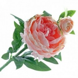 Peony - Pale Pink (1 flower & 1 bud, 64cm long)