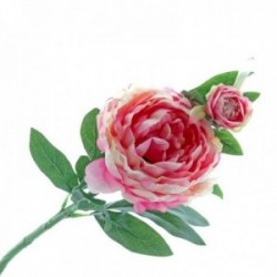 Peony - Hot Pink (1 flower & 1 bud, 64cm long)