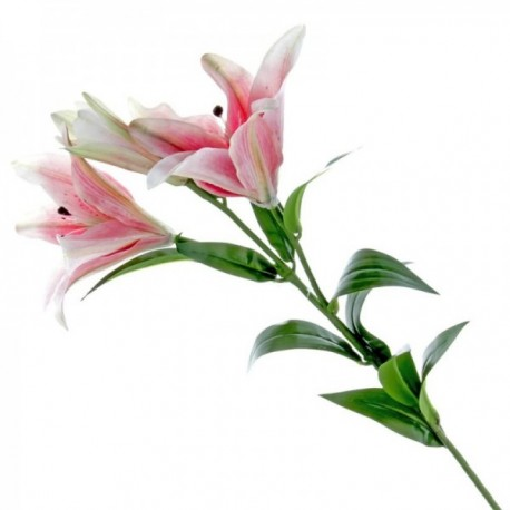 Real Touch Tiger Lily - Pink (3 heads, 90cm long)