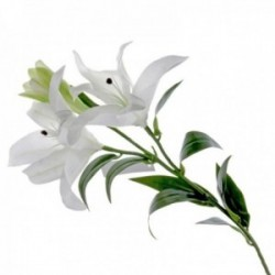 Real Touch Tiger Lily - White (3 heads, 90cm long)