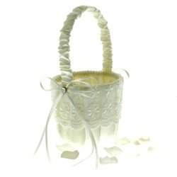 Lace Flower Girl Bag - Ivory (12cm diameter x 22cm long)