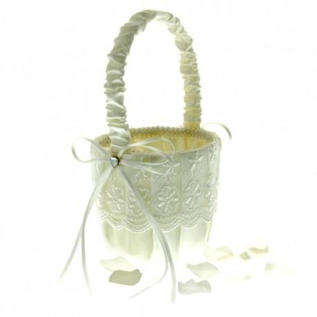 Lace Flower Girl Bag - Ivory (12cm diameter x 22cm long)